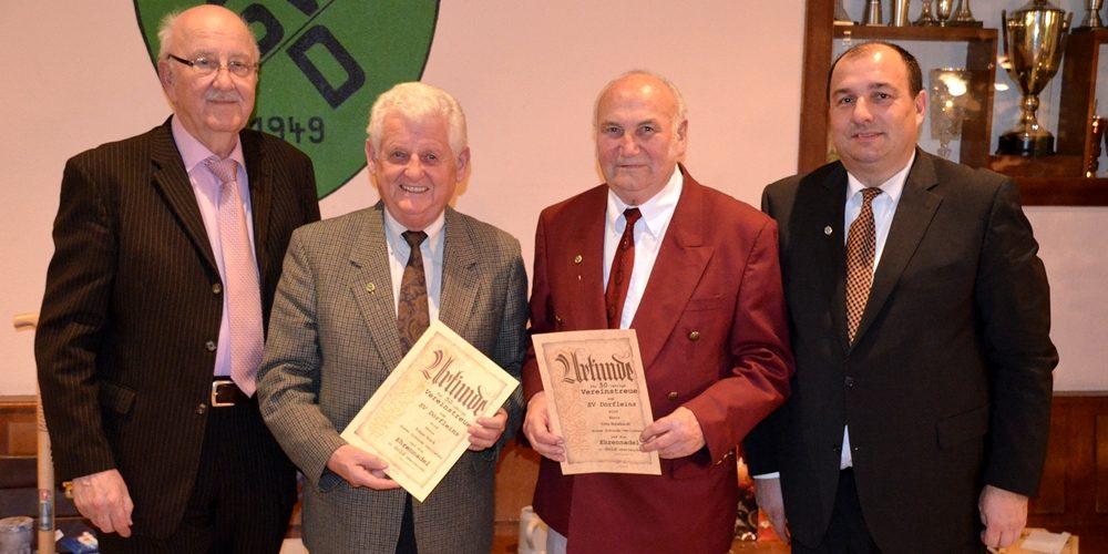 Sieben Jubilare erhalten Vereinsnadel für jahrelange Treue